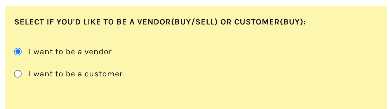 Vendor Registration Prompt